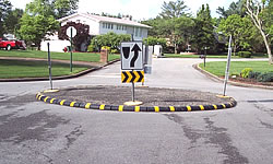 Rubber curbing used in a traffic circle.
