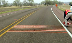 Rumble strips installed on a highway.
